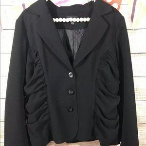 AB Studio Black Button Up Blazer Ruching 12
